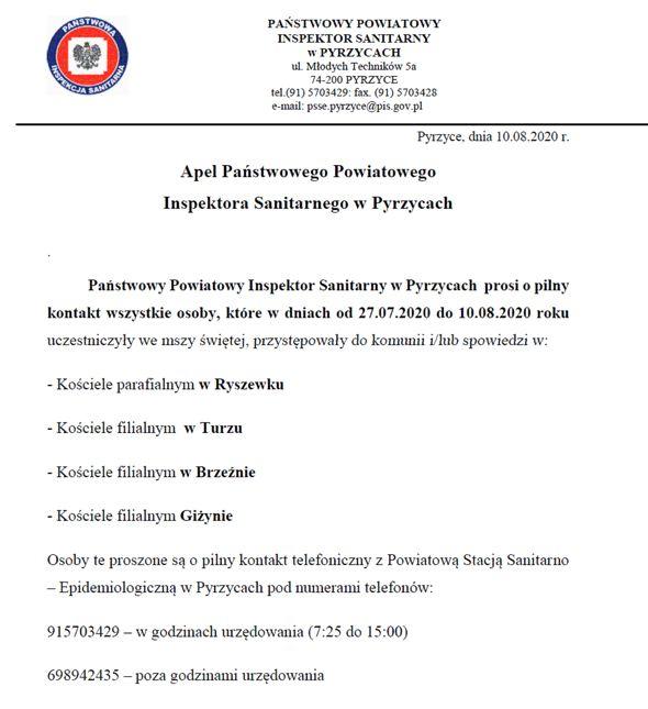 Apel Państwowego Powiatowego Inspektora Sanitarnego w Pyrzycach